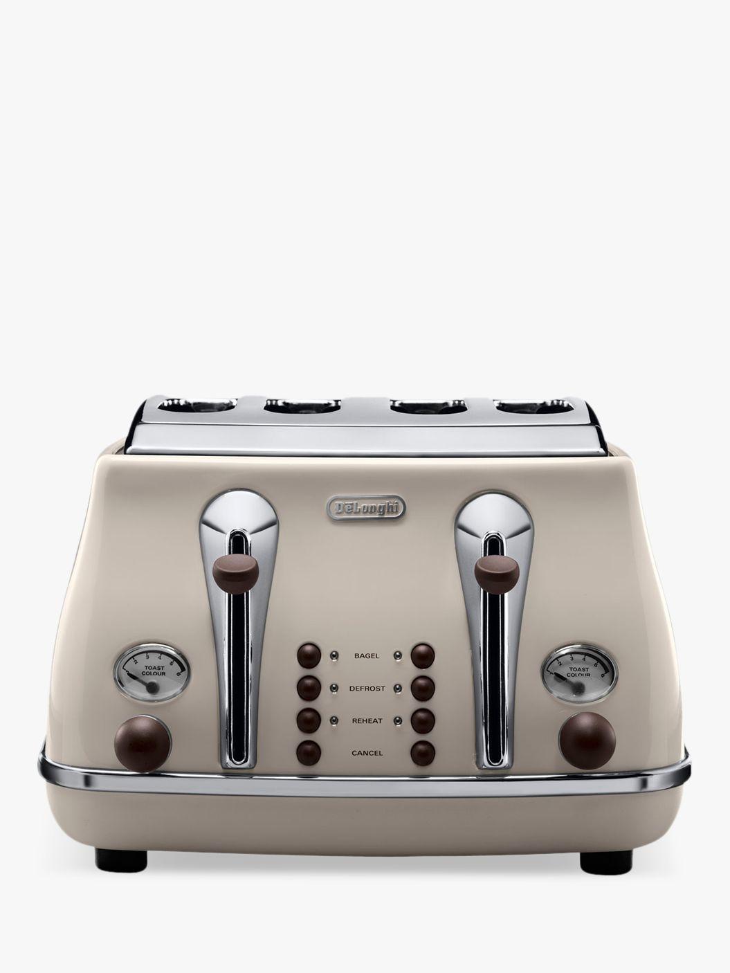 Delonghi De'Longhi CTOV4003BG Vintage Icona Toaster, 4-Slice, Cream