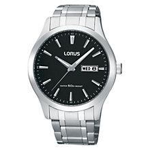 Buy Lorus RXN23DX9 Men's Day Date Bracelet Strap Watch, Silver/Black Online at johnlewis.com