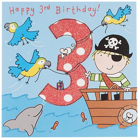Buy Twizler Pirate Birthday Card Age 3 – Pirate Birthday Card