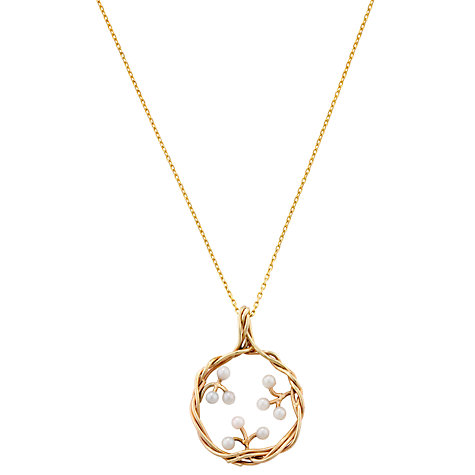 Buy London Road Burlington 9ct Yellow Gold Willow Pearl Pendant Drop Necklace Online at johnlewis.com