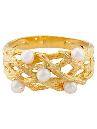 London Road Burlington 9ct Yellow Gold and Pearl Willow Ring, Gold