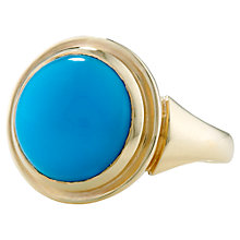 Buy London Road Sloane 9ct Yellow Gold Turquoise Cocktail Ring, Gold/Blue Online at johnlewis.com