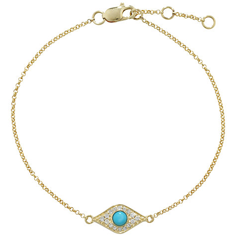 Buy London Road Enchanted Evil Eye Diamond and Turquoise Bracelet, Gold Online at johnlewis.com