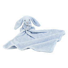 Buy Jellycat Bashful Bunny Baby Blankie Soft Toy, Blue Online at johnlewis.com