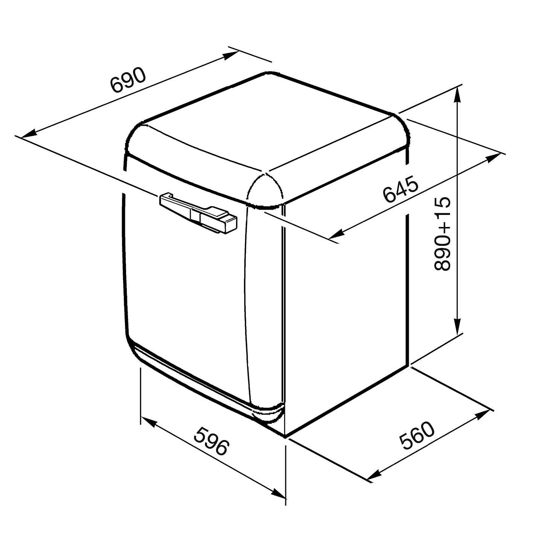 Smeg WMFABRO1 Slim Depth Freestanding Washing Machine, 7kg
