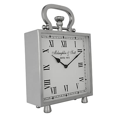 Libra Square Table Clock, Silver