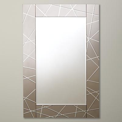 John Lewis Engraved Mirror, 90 x 60cm, Smoke