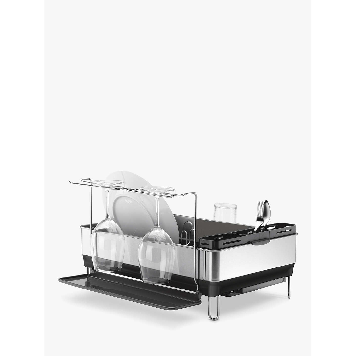 simplehuman dish rack simplehuman steel dish drainer and glass holder at lewis 28909