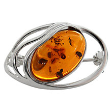 Buy Goldmajor Amber and Silver Brooch, Cognac Online at johnlewis.com