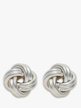 Nina B Small Silver Knot Stud Earrings, Silver