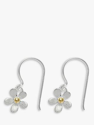 Nina B Silver Flower Hook Earrings, Silver