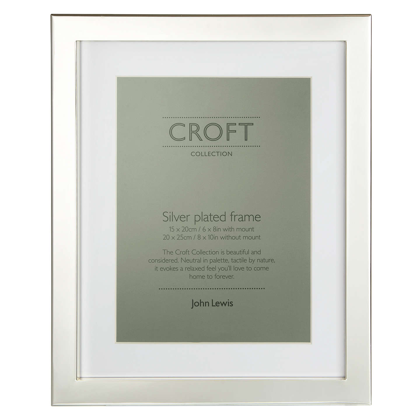 Croft Collection Silver Plated Box Photo Frame, 6 x 8\