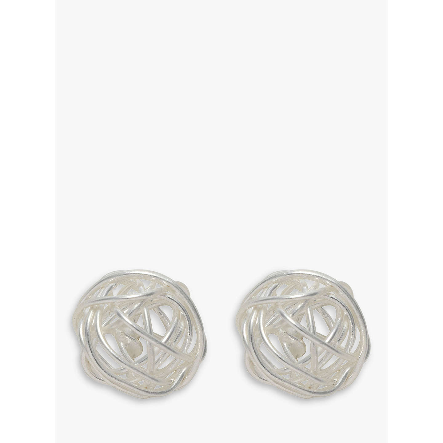 Nina B Silver Wire Ball Stud Earrings, Silver at John Lewis