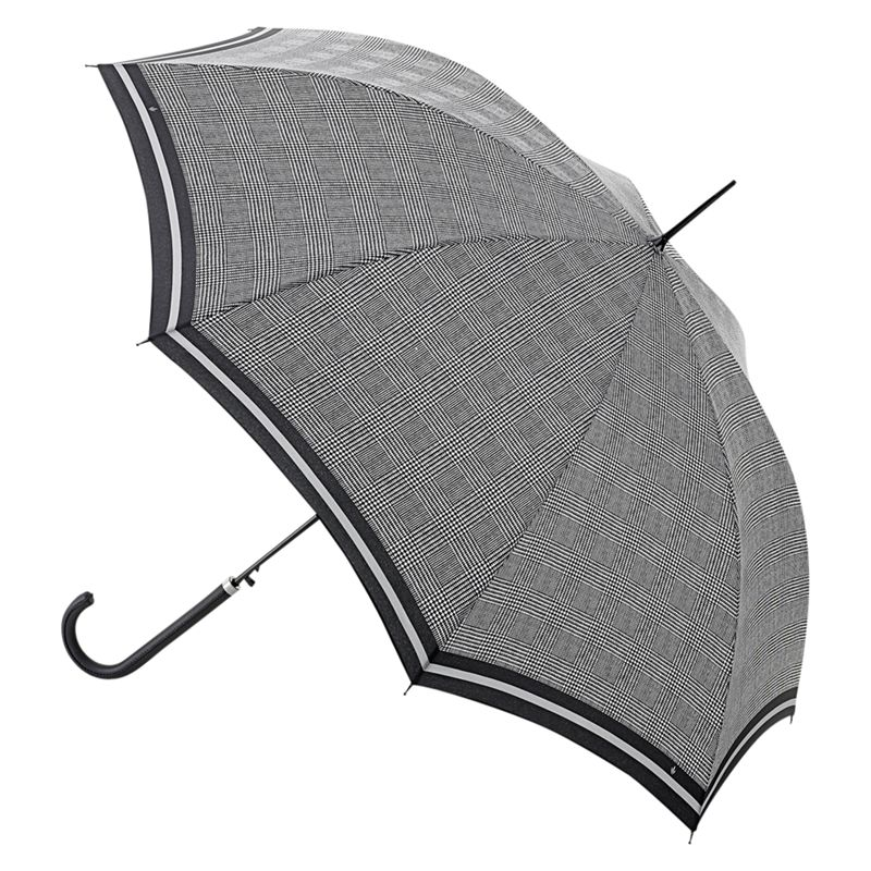 Fulton Fulton Riva Prince of Wales Check Walking Umbrella, Black