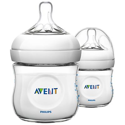 Philips Avent Natural Baby Bottle with Newborn Flow Teat, Pack of 2, 125ml