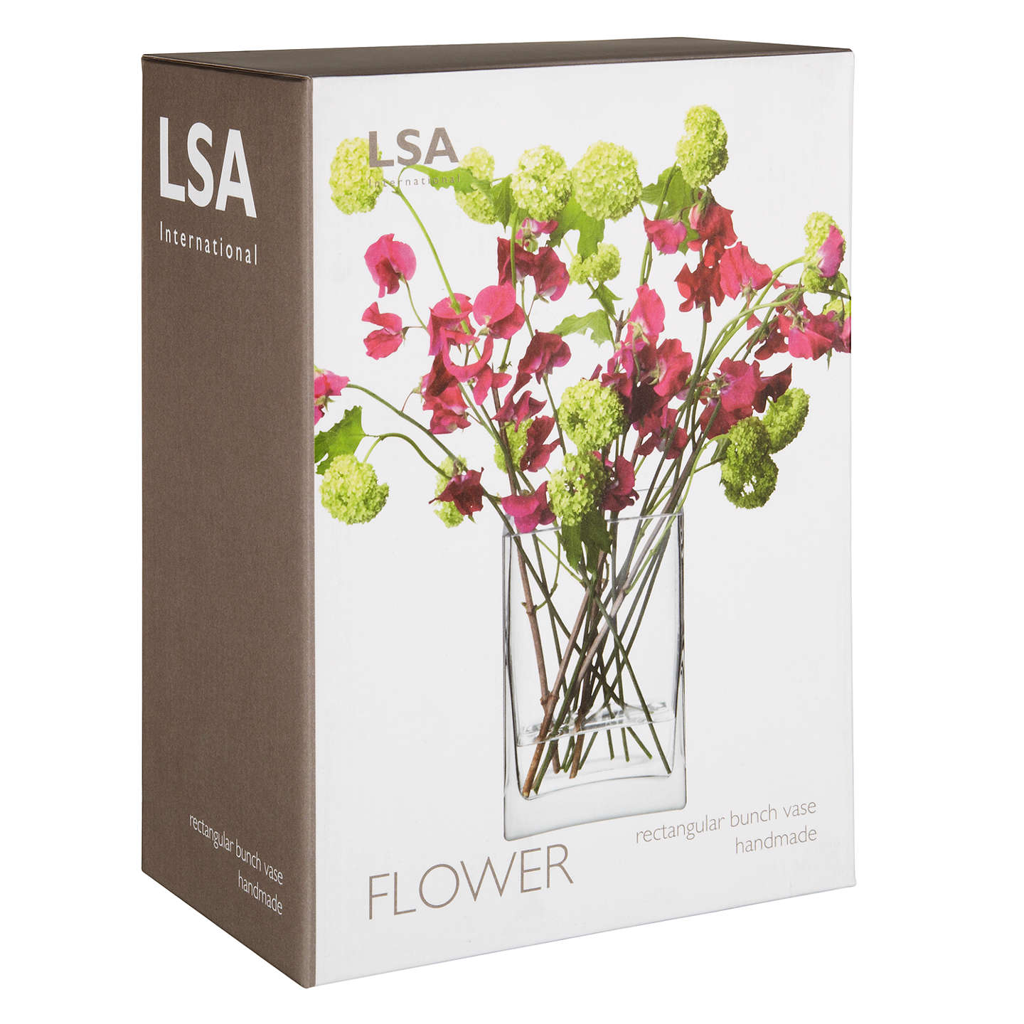 BuyLSA International Flower Rectangular Bunch Vase, Clear, H22cm Online at johnlewis.com