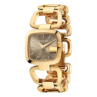 Gucci YA125511 Women's I-Gucci Square Gold Plated Bracelet Strap Watch, Gold/Brown