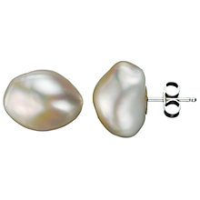Buy A B Davis Baroque Cultured Flat White Pearl Stud Earrings Online at johnlewis.com