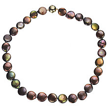 Buy A B Davis Cultured River Pearl Coin Necklace, Bronze Online at johnlewis.com