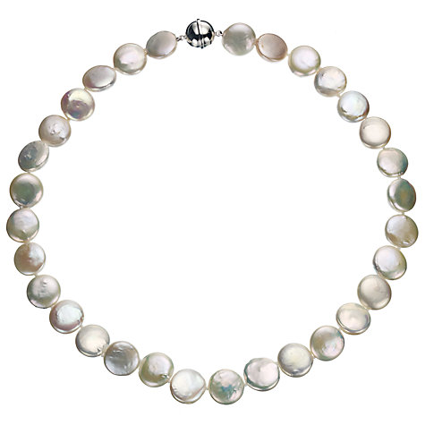 Buy A B Davis Cultured River Pearl Coin Necklace, White Online at johnlewis.com