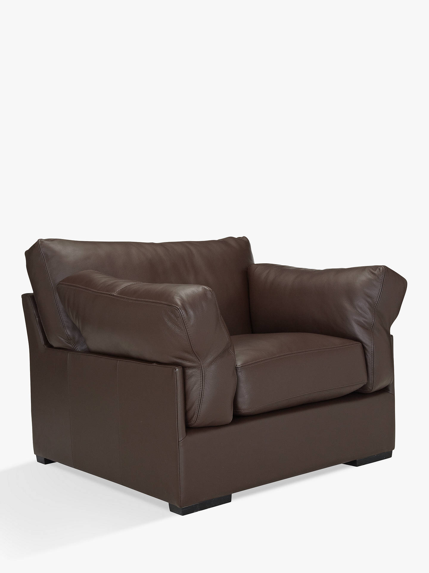John Lewis Partners Java Semi Aniline Leather Armchair Nature Brown Online At Johnlewis