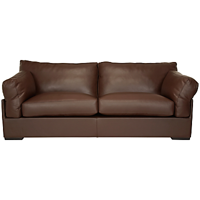 John Lewis Java Leather Grand 4 Seater Sofa, Nature Brown