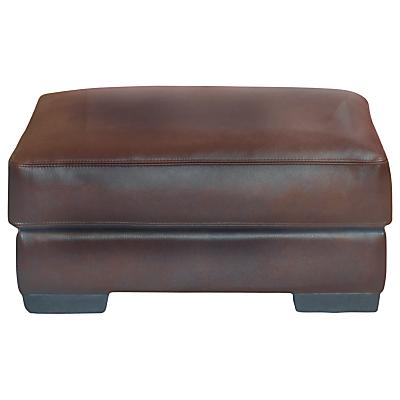 John Lewis Java Leather Footstool, Nature Brown
