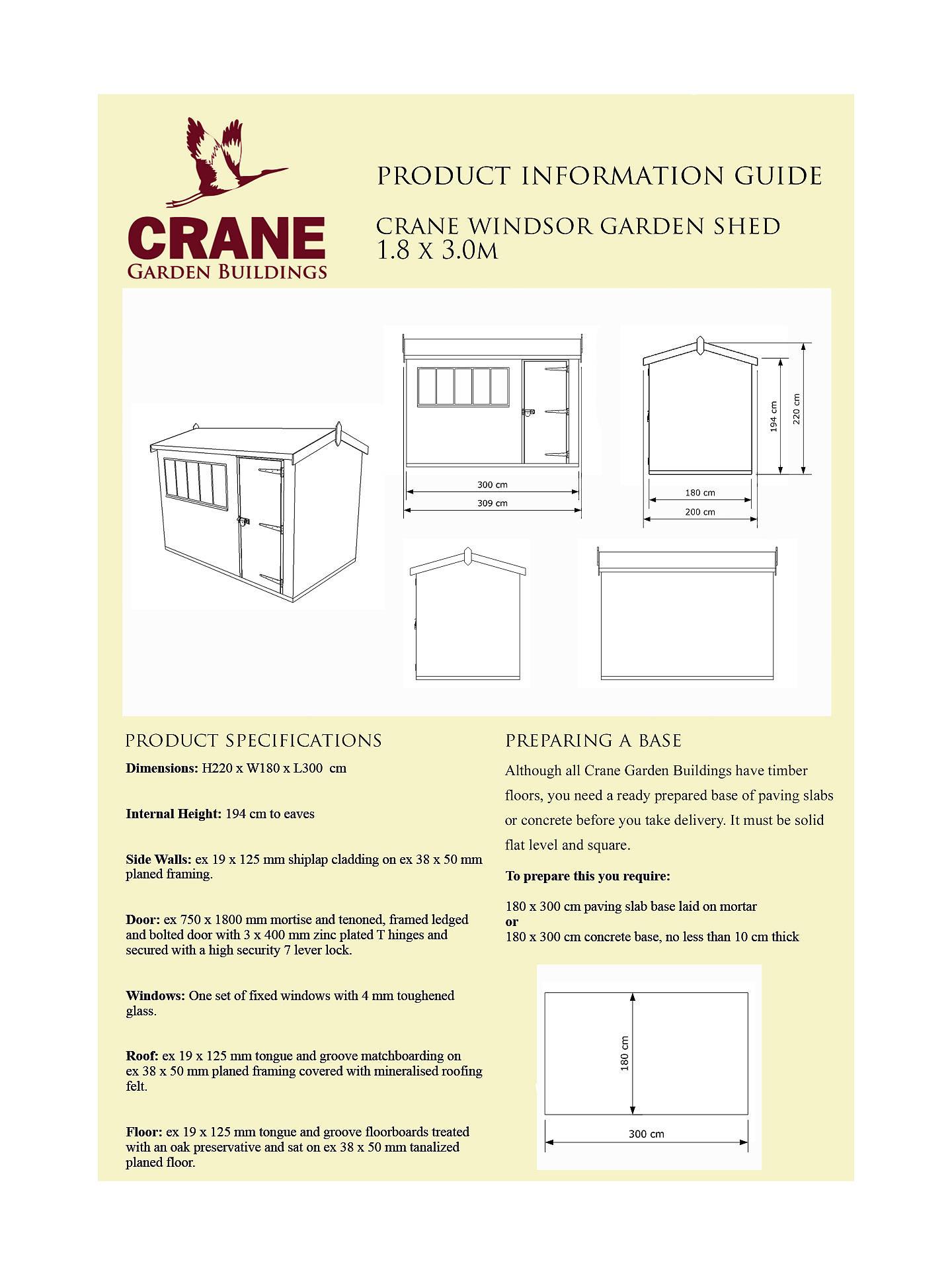 Crane 1 8 x 3m Windsor Garden Shed, FSC-certified (Scandinavian Redwood),  Sage