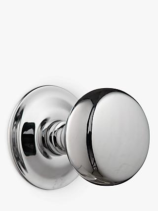 John Lewis & Partners Groove Stem Mortice Knobs, Polished Chrome, Pair, Dia.54mm