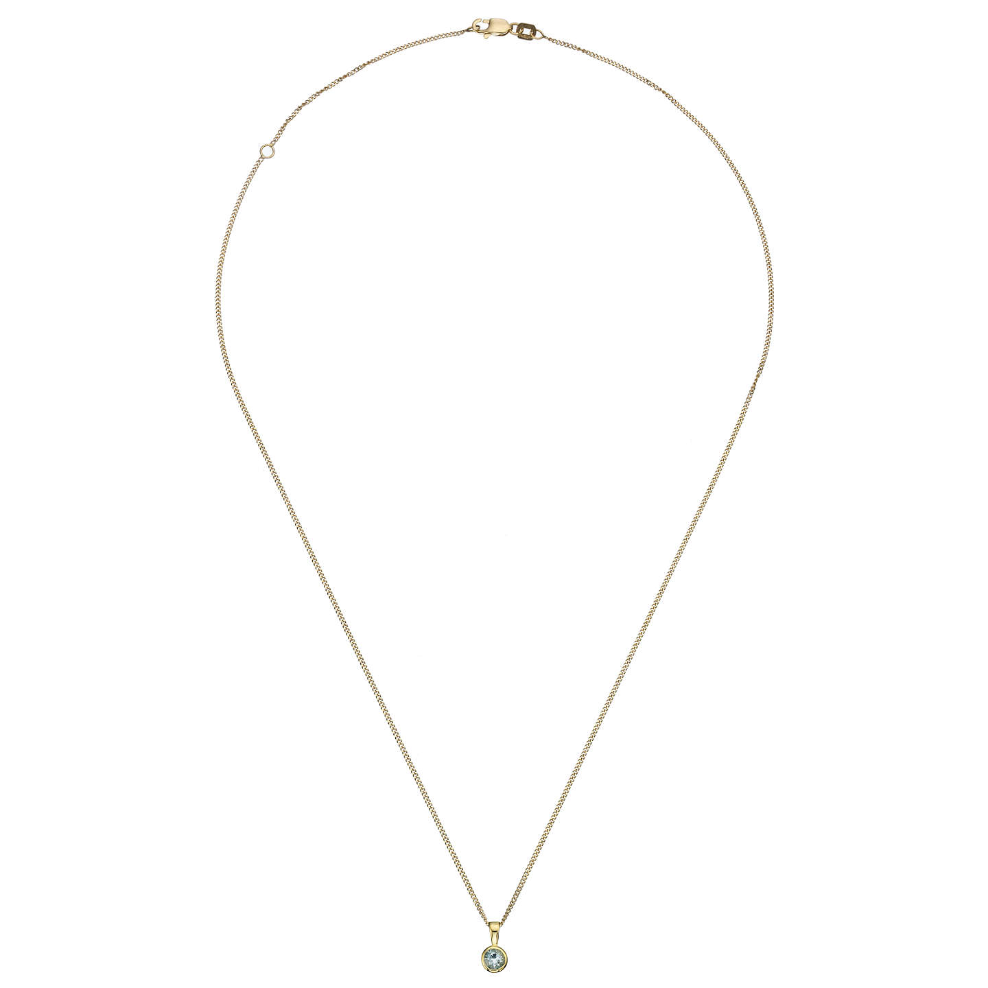 BuyA B Davis 9ct Yellow Gold Round Gemstone Rubover Pendant Necklace, Aquamarine Online at johnlewis.com