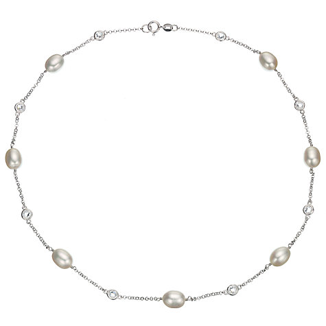 Buy A B Davis Freshwater Pearl and Cubic Zirconia Necklace Online at johnlewis.com