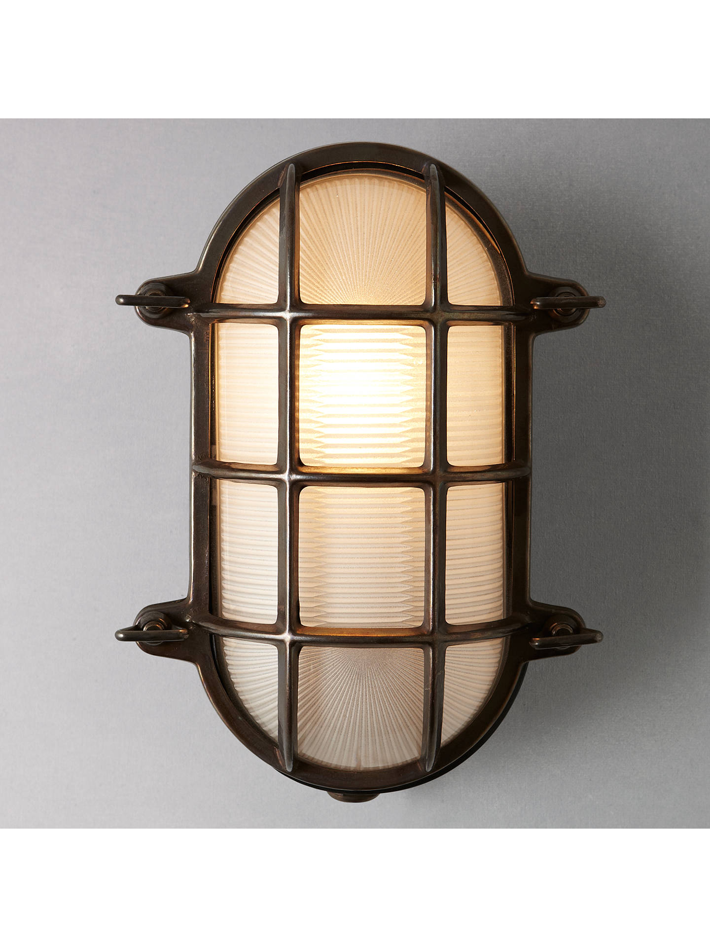 BuyDavey Lighting Bulkhead Weathered Wall Light, Brass Online at johnlewis.com