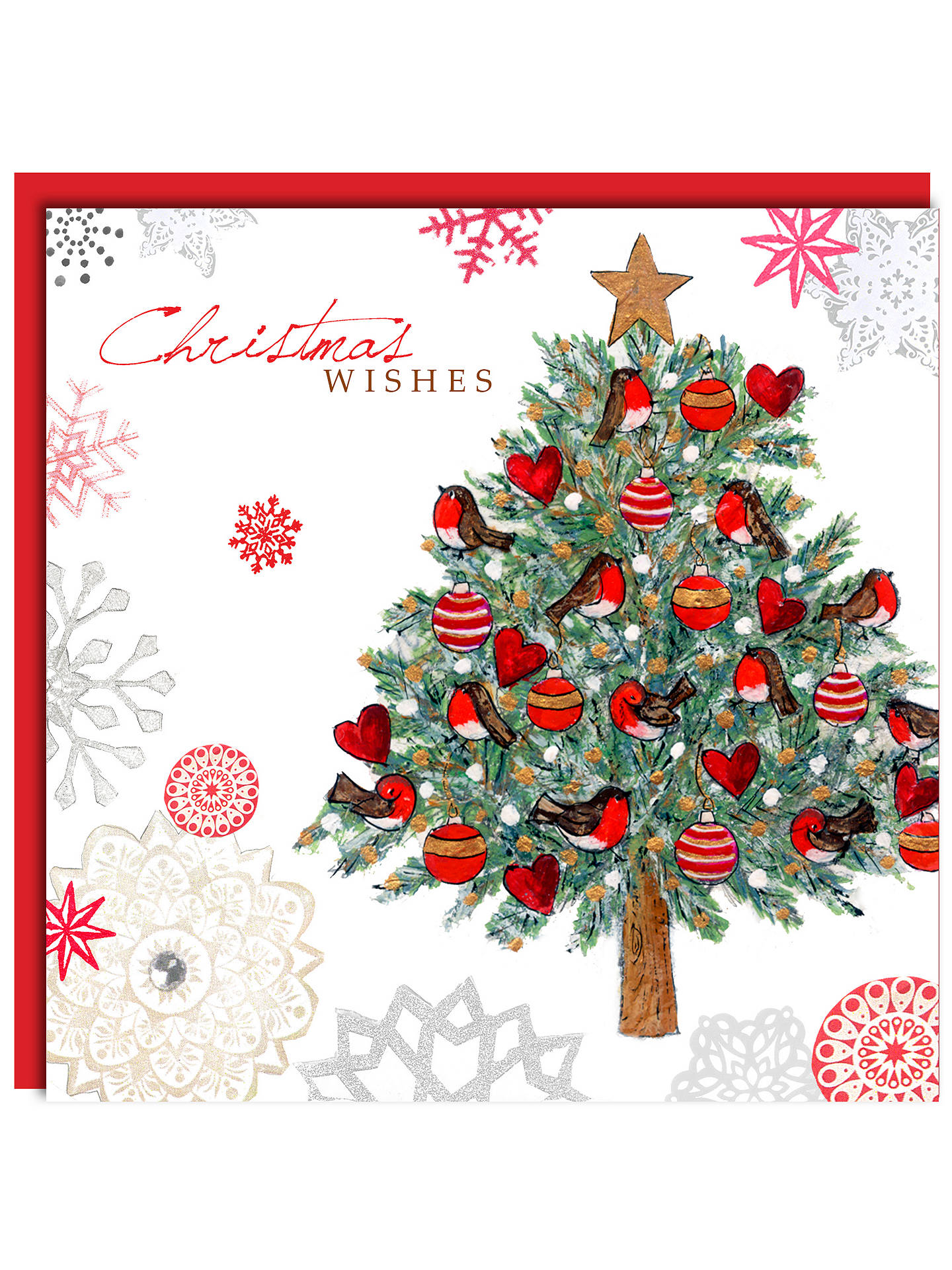 Hammond Gower Tree with Hearts and Robins Christmas Cards, Pack of 5 ...