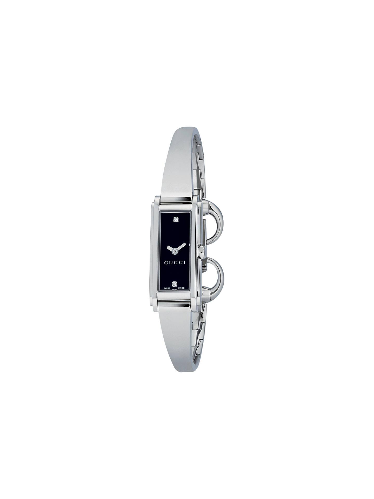 9f7cb5ad5ed Buy Gucci YA109518 Women s G-Line Oblong Diamond Stainless Steel Bangle  Strap Watch
