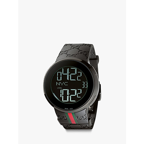Buy Gucci YA114207 Men's I-Gucci Rubber Strap Digital Watch, Black Online at johnlewis.com