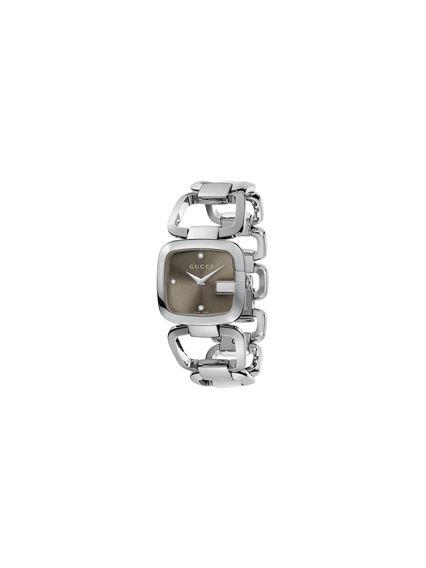 7528f771892 Buy Gucci YA125401 Women s G-Gucci Square Diamond Set Dial Bracelet Strap  Watch