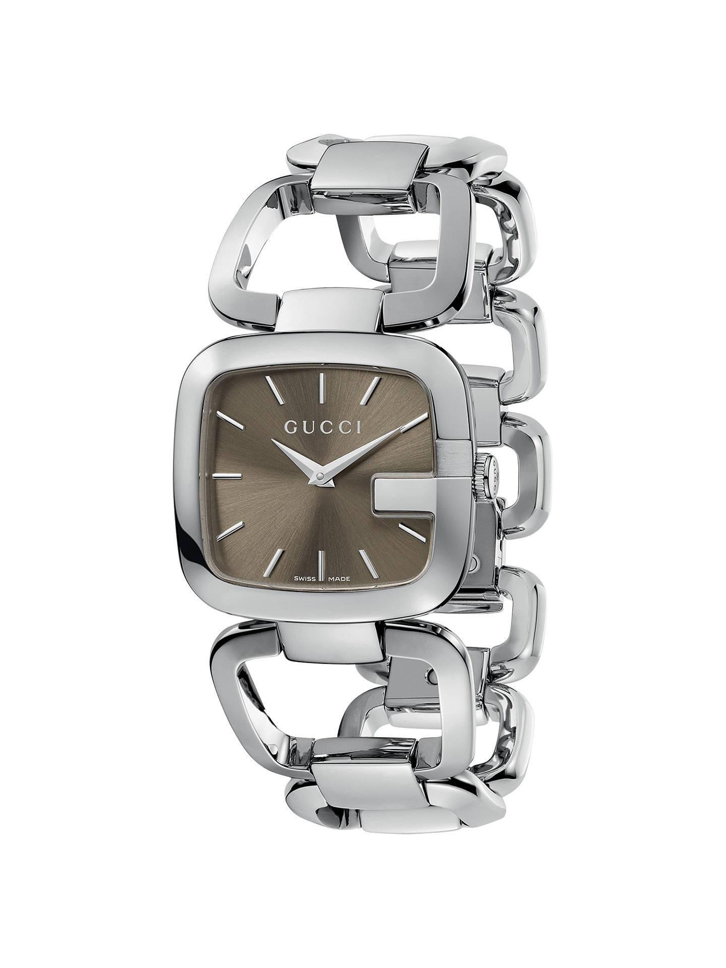 76f416c41b57f Gucci YA125402 Women s G-Gucci Brown Square Dial Bracelet Watch ...