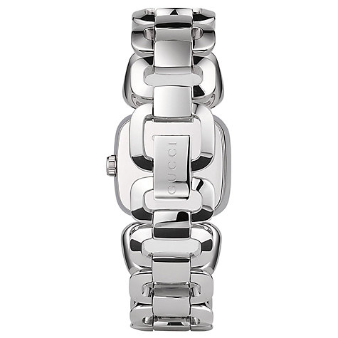 Buy Gucci YA125507 Women's G-Gucci Square Dial Bracelet Strap Watch, Silver/Brown Online at johnlewis.com