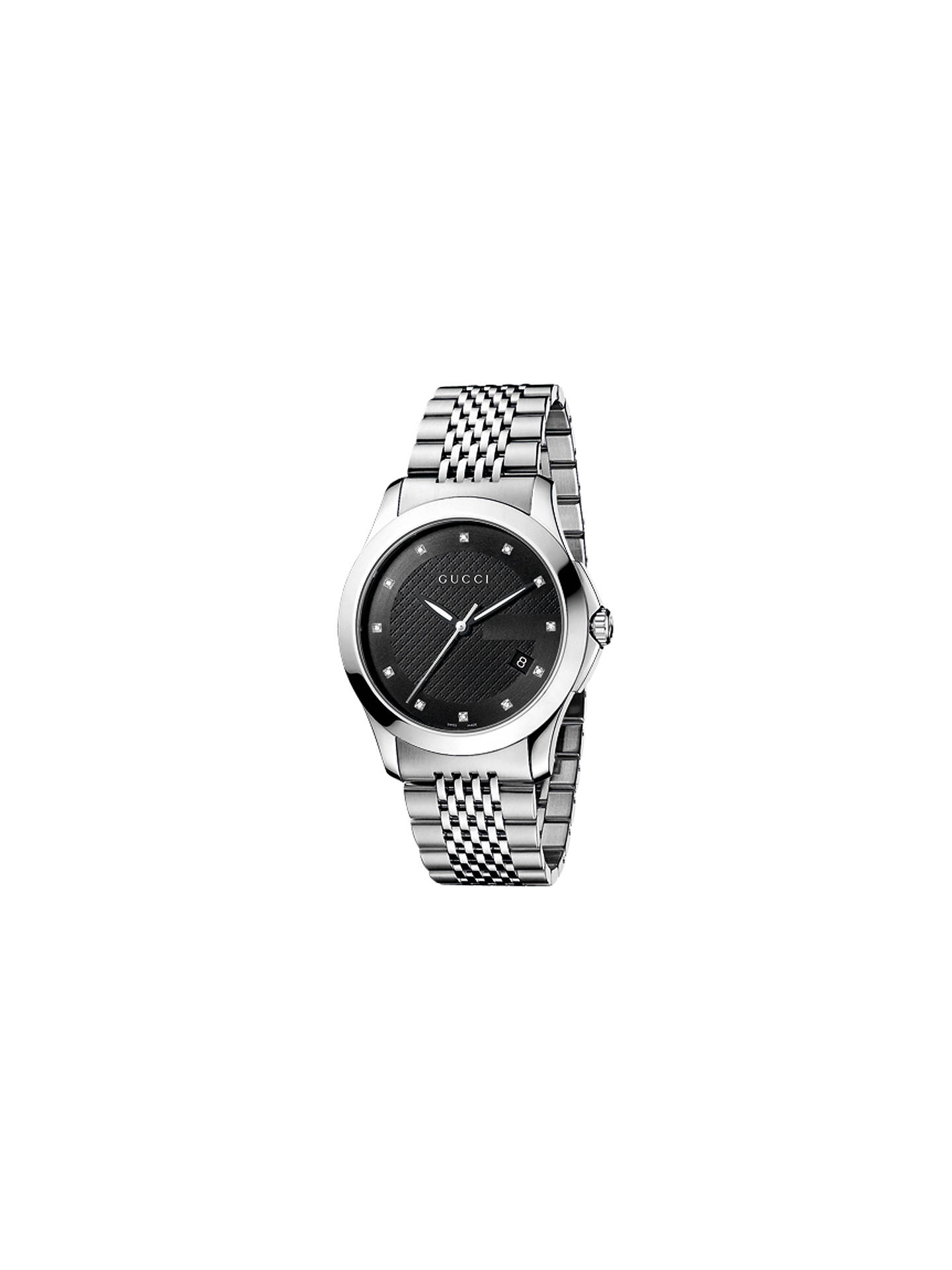 273545e2e5e BuyGucci YA126405 Gucci YA126404 Men s G-Timeless Diamond Set Stainless  Steel Bracelet Strap Watch