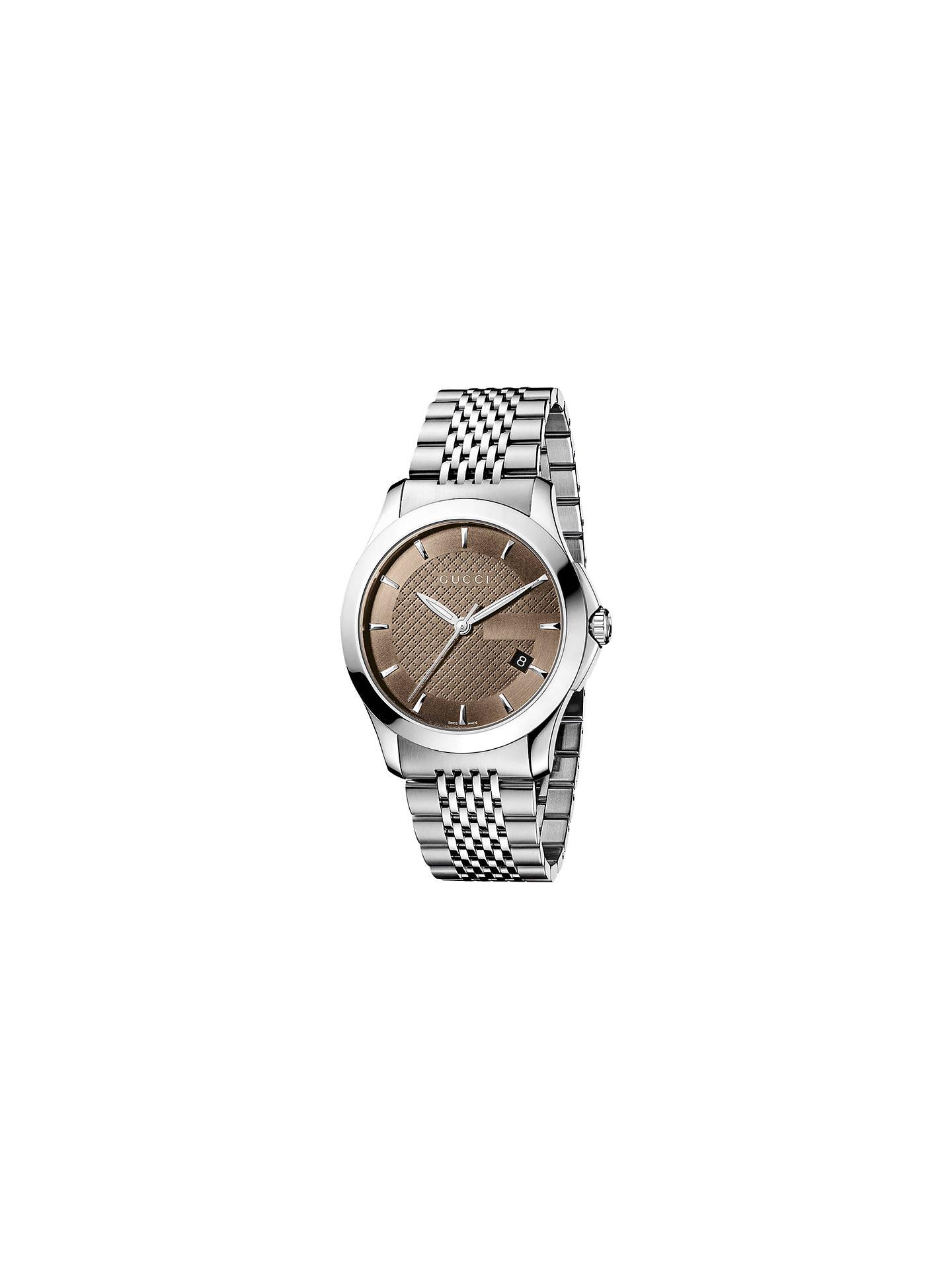 666756855df Gucci YA126406 Men s G-Timeless Stainless Steel Bracelet Strap Watch ...