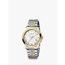 Buy Gucci YA126409 Men's G-Timeless Two Tone Date Bracelet Strap Watch, Silver/Gold Online at johnlewis.com