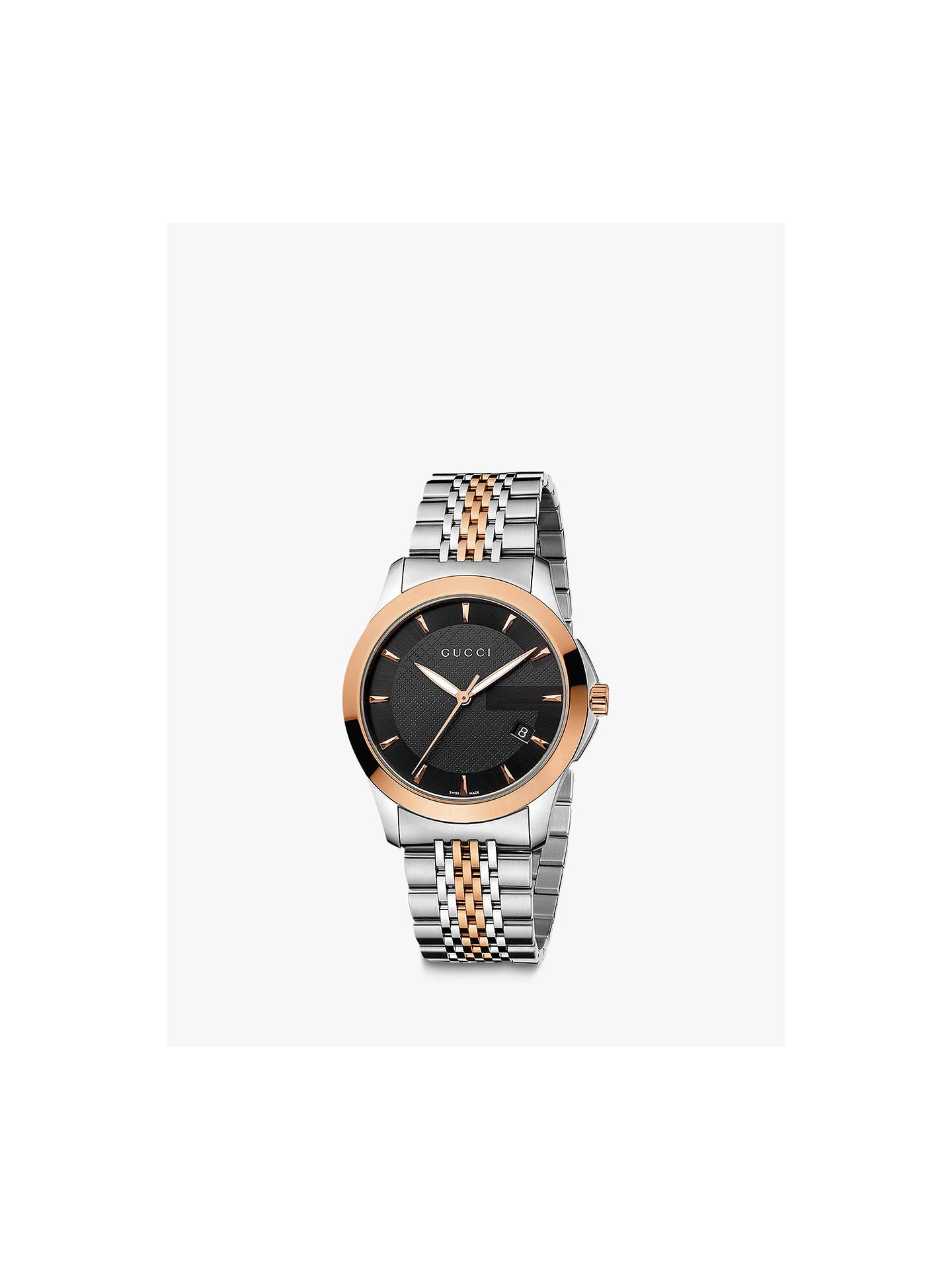 668ec5ce34a Gucci YA126410 Men s G-Timeless Two Tone Date Bracelet Strap Watch ...