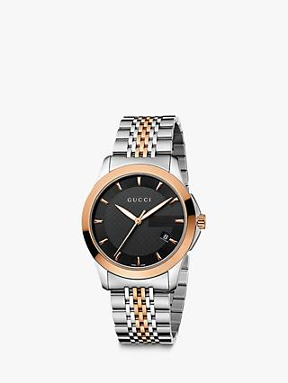 fce4ae49d1acba Gucci YA126410 Men's G-Timeless Two Tone Date Bracelet Strap Watch,  Silver/Rose