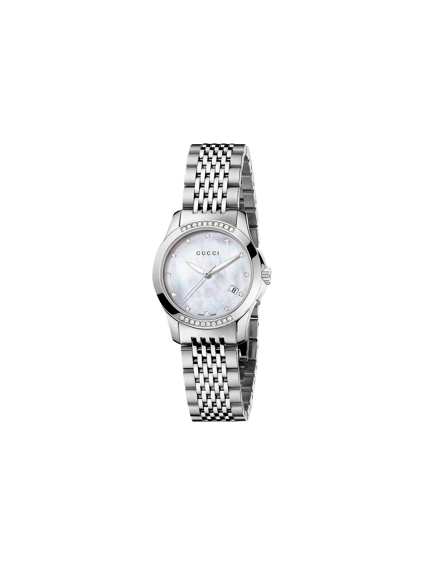 4ba6c368290 Buy Gucci YA126510 Women s G-Timeless Diamond Mother of Pearl Dial Bracelet  Strap Watch