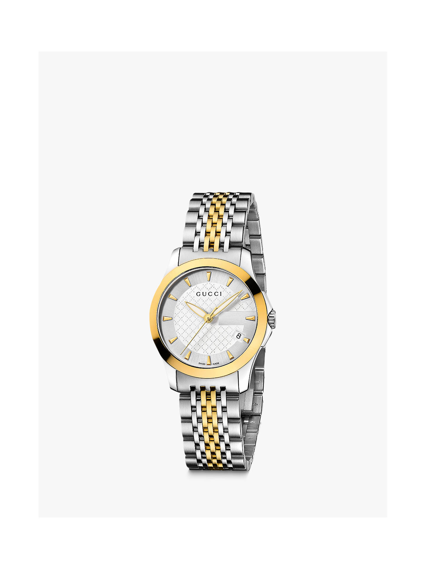 f381c5f39cf Gucci YA126511 Women s G-Timeless Two Tone Date Bracelet Strap Watch ...