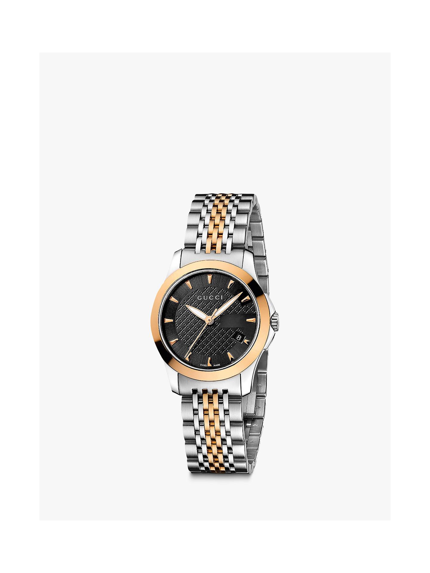 42e4ee68bcf Gucci YA126512 Women s G-Timeless Two Tone Date Bracelet Strap Watch ...