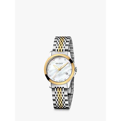 e8ef38282bd Gucci YA126513 Women s G-Timeless Mother of Pearl Diamond Two Tone Bracelet  Strap Watch