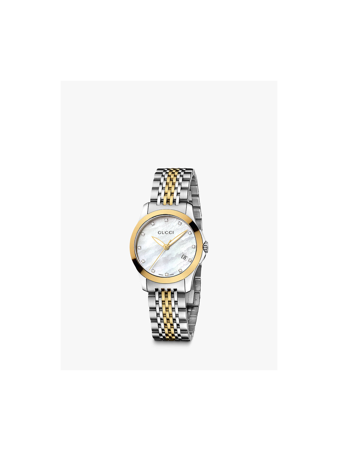 3ca1c14e9a7 Buy Gucci YA126513 Women s G-Timeless Mother of Pearl Diamond Two Tone  Bracelet Strap Watch ...