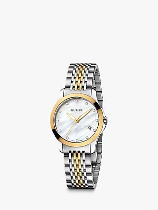 e6571d466a3 Gucci YA126513 Women s G-Timeless Mother of Pearl Diamond Two Tone Bracelet  Strap Watch