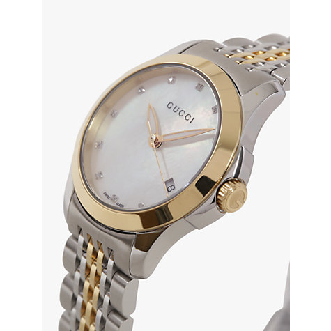 Buy Gucci YA126513 Women's G-Timeless Mother of Pearl Diamond Two Tone Bracelet Strap Watch, Silver/Gold Online at johnlewis.com